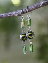 RD-ER-0240 -- Green Snake Eyes Earrings - $12.00