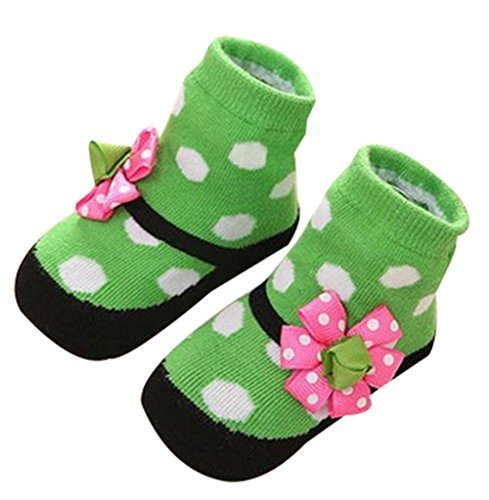Princess Lace Socks Children's Floor Socks Newborn Baby Socks Stereo, Green