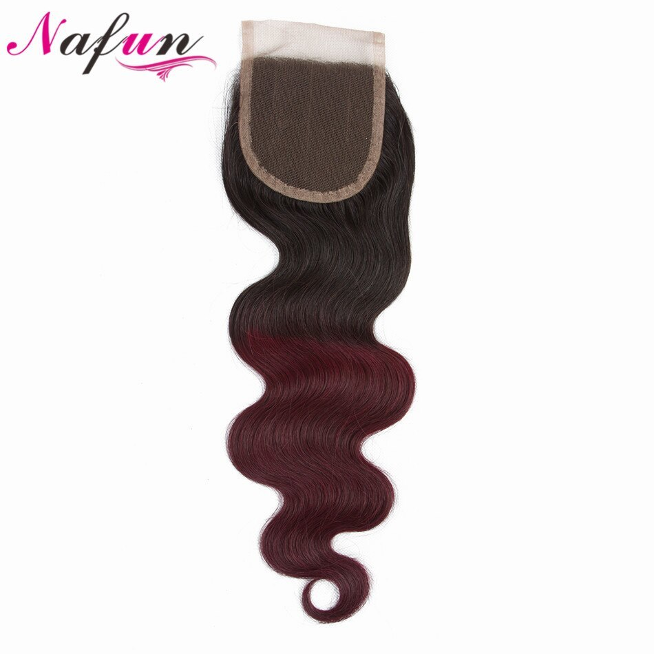 Primary image for NAFUN 4x4 Lace Closure Peruvia Pre colored Body Wave Non Remy Hair Ombre Color T