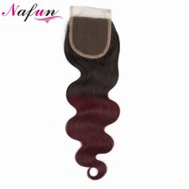 NAFUN 4x4 Lace Closure Peruvia Pre colored Body Wave Non Remy Hair Ombre... - $41.80
