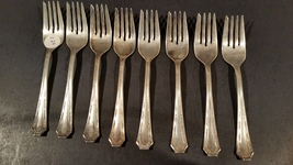 8 Antique silverplate salad forks - FairField - 1915 Alpha - $25.00