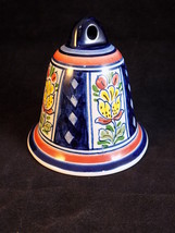 DELFT HOLLAND PORCELAIN BELL Blue glazed porcelain tulip pattern tiny bell - $9.89