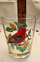 VINTAGE HAND PAINTED SCARLET TANAGER OLD FASHION GLASS West Virginia Glass Spec. image 4