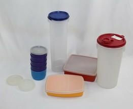 Vintage Lot 9 Tupperware Pieces - USA - Mid Century Colors 1607-12, 564-... - $16.82