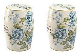 Garden Stool or Side Table, Plant Stand Antique Blue Floral Design Set of 2 - $174.95