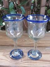 Mexican Glass~Cobalt Rim~Engraved House~Cobalt Swirl Base~Goblets~Pair - $12.59