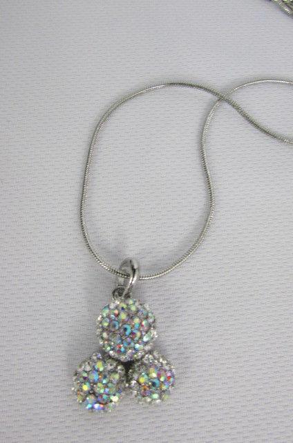 Damen Kurze Modische Halskette Metall 3 Bälle Silber Gold Strass Anhänger Bling image 10
