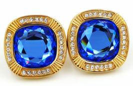 "SAL Swarovski Crystal Earrings Vintage Designer Sapphire Blue 3/4"" Cryst... - $139.00"