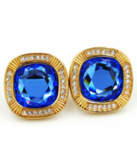 "SAL Swarovski Crystal Earrings Vintage Designer Sapphire Blue 3/4"" Cryst... - $139.00"