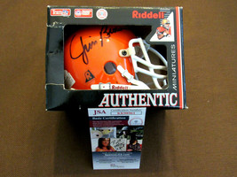 JIM BROWN CLEVELAND BROWNS HOF SIGNED AUTO RIDDELL MINI METAL MASK HELME... - $296.99