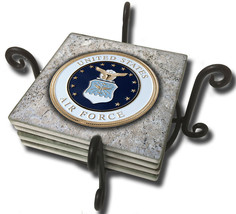 United States Air Force Emblem Design Tumbled Tile Coasters - Set of Five - $29.95