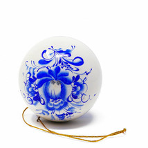 New Year Decoration Russian Christmas Tree Toy Wooden Ball Painted Gzhel... - $13.85