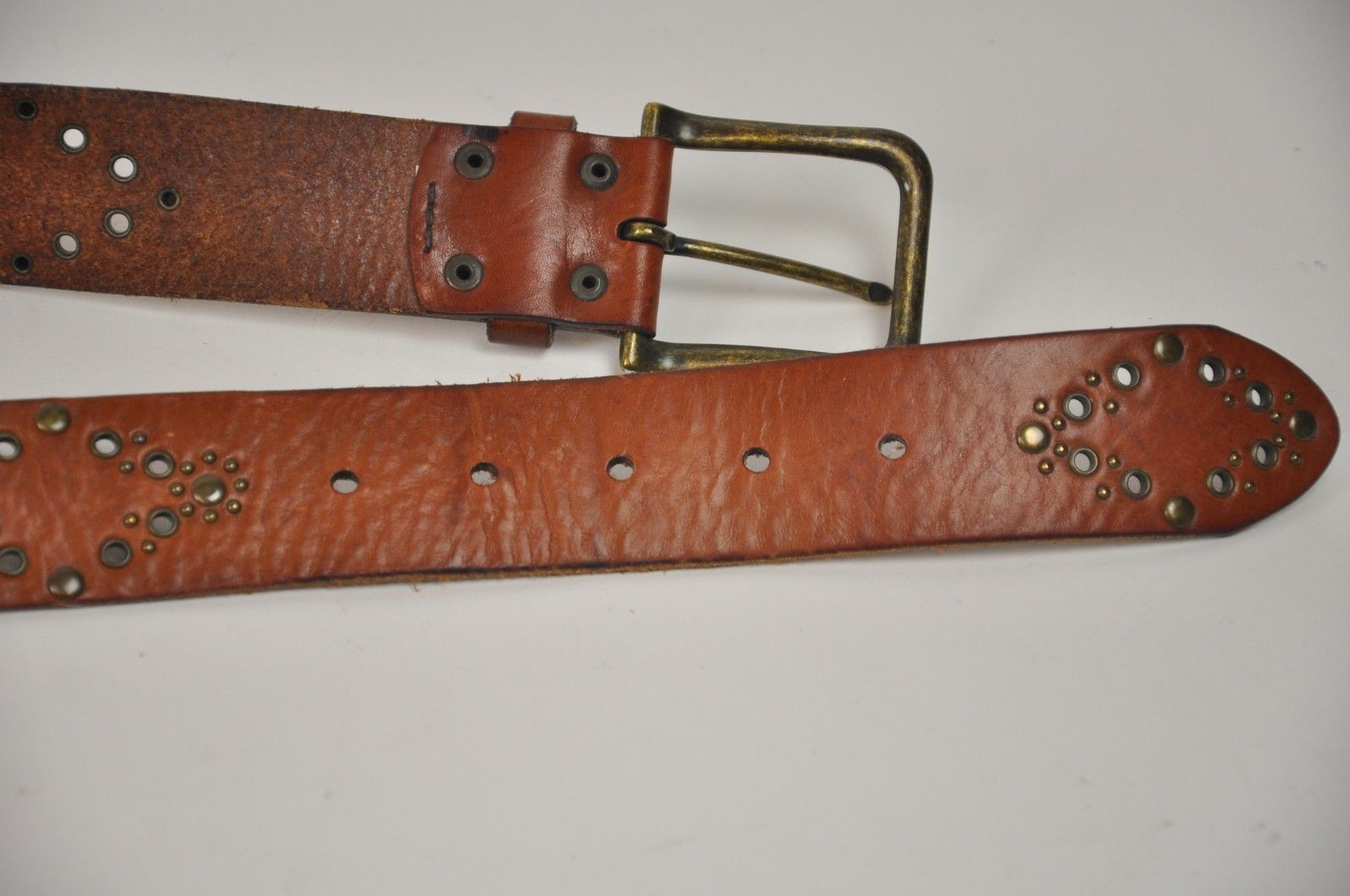 "Women's FOSSIL Brown Leather Belt Brass Rivets Diamonds Size Medium 33""-37"" image 4"