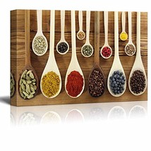 """wall26 - Colorful Spices in Wooden Spoons - Canvas Art Wall Decor - 16"""" x 24"""""""