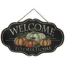 "Harvest/Fall Wooden Sign ""Welcome To Our Home"" approx. 13"" X 8"" Jute hanger - $9.00"