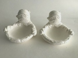 """Two Vintage Halloween Ceramic Mummy 3-D Candy Dish 5"""" X 5"""" X 3"""" Tall White - $22.52"""