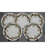 Set (5) Charter Club WINTER GARLAND PATTERN Luncheon Plates HOLIDAY - CH... - $63.35