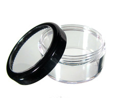 5 Beauty Containers Cosmetic Makeup Jars Black Trim Acrylic Lids 30 Gram... - $18.95