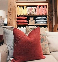 Pottery Barn Faye Pillow Cover Sumac 20 sq Textured Linen Hopsack Red Gr... - $30.73