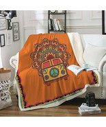 Sleepwish Retro Bus Peace Sign Blankets Throws Old Fashion Turquoise and... - $24.47