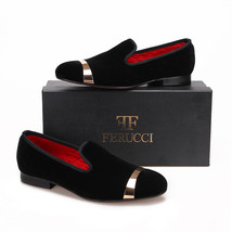 Men FERUCCI Black Slippers Loafers Flat With Gold Copper Buckle Band - $169.99