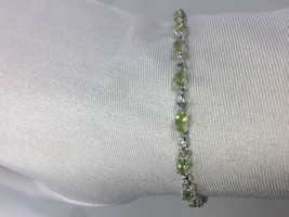 Antique Vintage Real Green Peridot 925 Sterling Silver Rhodium Deco Brac... - $163.35