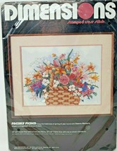 Dimensions FRESHLY PICKED Flower Basket 16 x 12 Stamped Cross Stitch 308... - $27.99