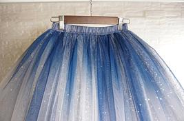 Women Girl Frozen Tutu Skirt Silver Blue Layered Puffy Tutu Skirt image 4