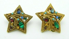 Multi-Color Glass Rhinestone Gold Tone Textured Star Clip Earrings Vintage - $29.69