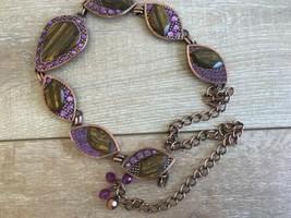 Chicos Women's Belt Bronze Purple Metal Artsy Boho Chain 7 Medallions Bl... - $39.59