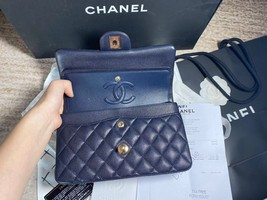 AUTH BNW CHANEL 2019 NAVY CAVIAR QUILTED SMALL DOUBLE FLAP BAG GHW RECEIPT image 7