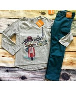Gymboree Ready Jet Go Set 5 6 Moped Motorcycle Top Teal Cargo Pants NWT - $16.99
