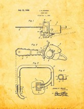 Chain Saw Patent Print - Golden Look - $7.95+