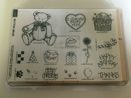 Stampin Up Mounted Stamp Set Button Bear 1995 Paw Print Birthday Christm... - $21.99
