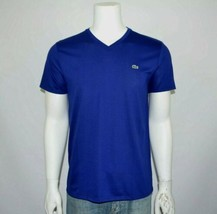 NWT LACOSTE Regular Fit Pima Cotton Ocean Blue V-Neck T-Shirt Tee Size 8... - $35.00