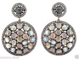 Labradorite Gemstone Sterling Silver Pave 4.7ct Diamond Dangle Earrings ... - $1,088.01