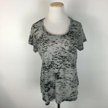 Synergy Organic Clothing Women's Gray Camo Short Sleeve Tee Size Medium - $21.59