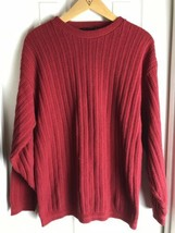 Bill Blass Men's Red  Cable Knit Long Sleeve -Crewneck Sweater -Size S Small - $23.76