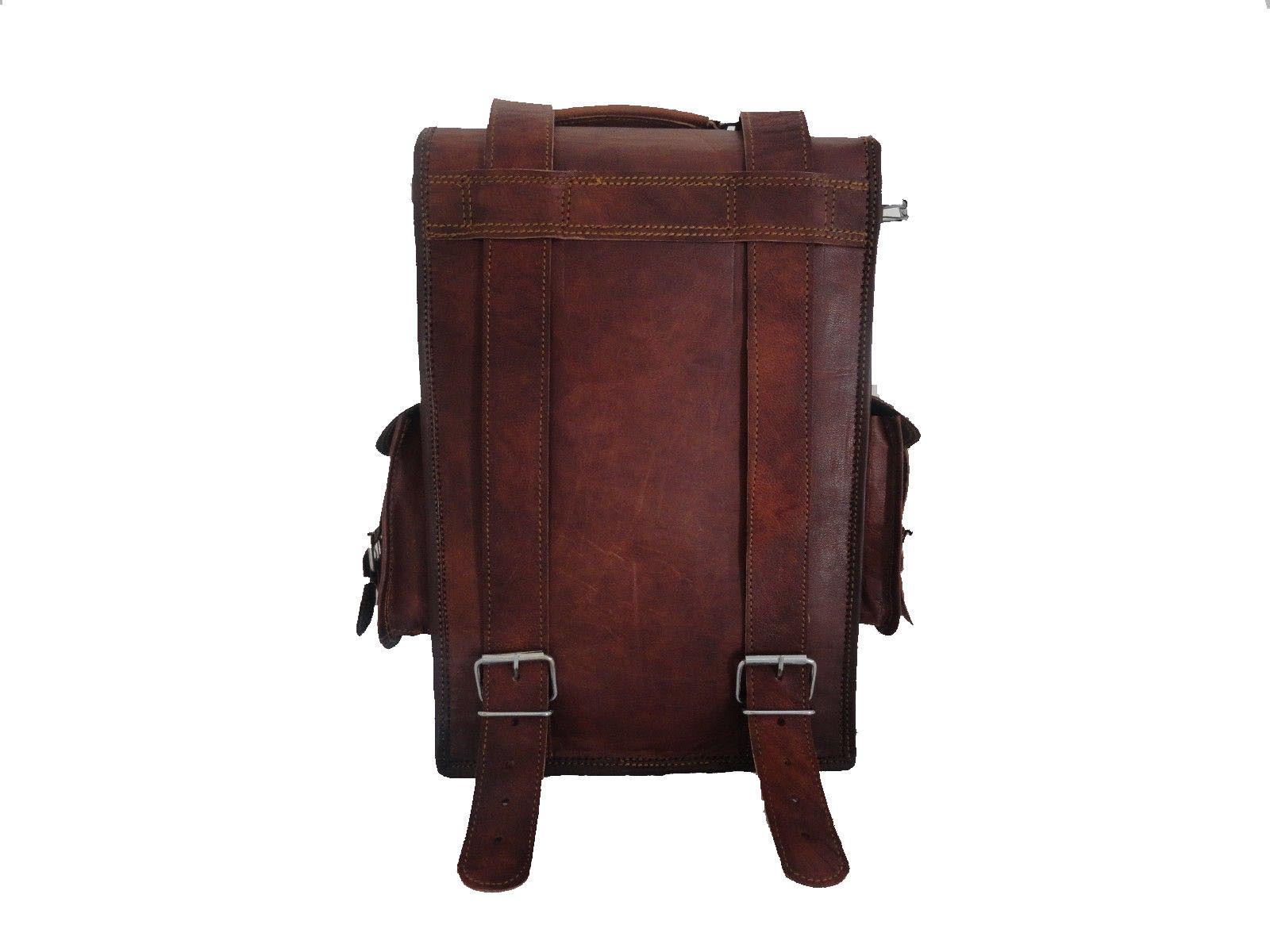 """15"""" Leather Backpack Bag Rucksack Messenger Laptop Satchel Genuine Vintage image 5"""