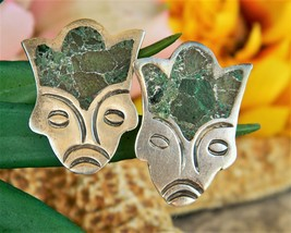 Vintage Aztec Mayan Face Mexican Silver Turquoise Earrings Screwback - £15.94 GBP