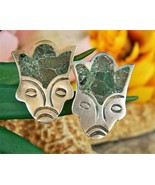 Vintage Aztec Mayan Face Mexican Silver Turquoise Earrings Screwback - $19.95