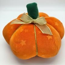 Plush Orange Decorative Pumpkin Super Soft Bow Rope Accent Star Hallowee... - £10.79 GBP