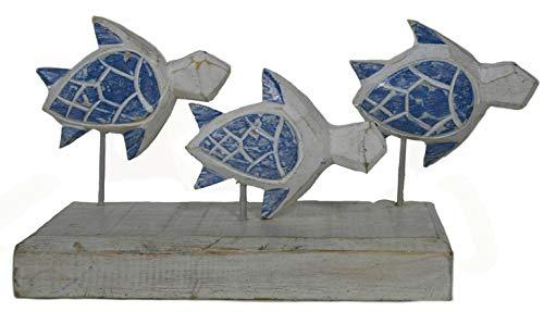 Primary image for Hand Carved Beautiful SEA Turtle Family Sculpture ON Stand Rustic Nautical Ocean