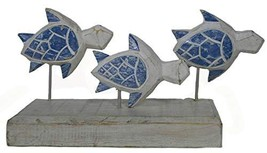 Hand Carved Beautiful SEA Turtle Family Sculpture ON Stand Rustic Nautic... - $24.69