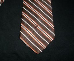 Vintage Men's Pierre Cardin Paris New York Brown Orange White Stripes Stripe Tie - $5.90
