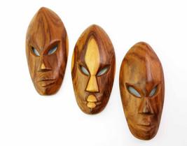 African Tribal Masks Vintage Hand Carved Set of 3 Wood Carved Ethnic Pri... - $27.90