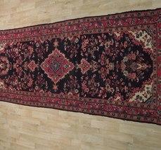 Tribal Wide Gallery Runner Persian Genuine Handmade 4x10 Black Sarouk Wool Rug image 10