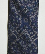 Designer GIVENCHY Monsieur Blue Paisley Pattern Luxury 100% Italy Silk N... - $24.74