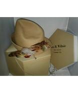 Tan Felt Caprice NY Hat Feathers G H Wiltsie Hexagon Box Cortland Union ... - $17.99