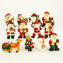 Santa Clay Ornaments Set of 12 Figures Reindeer Christmas Tree Sleigh Sk... - $24.18